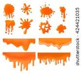 orange liquid splash spot of... | Shutterstock .eps vector #424421035