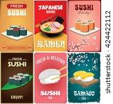 vintage sushi poster design... | Shutterstock .eps vector #424422112
