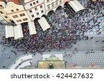 top view of tourist crowd in...   Shutterstock . vector #424427632