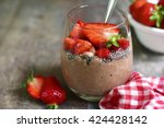 chocolate chia seed pudding... | Shutterstock . vector #424428142