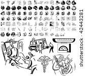 medical set of black sketch.... | Shutterstock .eps vector #42443281