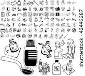 medical set of black sketch.... | Shutterstock .eps vector #42443287