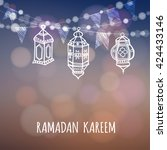 ramadan greeting card.... | Shutterstock .eps vector #424433146