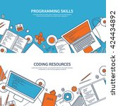 programming coding background... | Shutterstock .eps vector #424434892