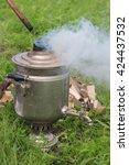 the samovar standing in a... | Shutterstock . vector #424437532