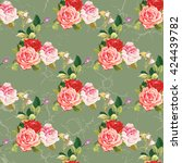 seamless floral pattern three... | Shutterstock .eps vector #424439782