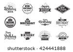 happy birthday typographic set. ... | Shutterstock .eps vector #424441888