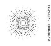 sun rays linear drawing. star... | Shutterstock .eps vector #424443466