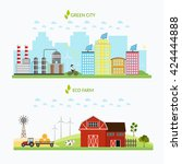 ecology infographic vector... | Shutterstock .eps vector #424444888