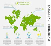 ecology infographic vector... | Shutterstock .eps vector #424444906