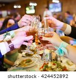 holiday event people cheering... | Shutterstock . vector #424452892