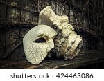 Vintage Venetian Mask with Roman Column - stock photo