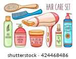 vector hand drawn hair care... | Shutterstock .eps vector #424468486