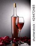 rose wine glass  rose wine... | Shutterstock . vector #424472485