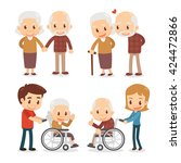 elderly couple. seniors couple. ... | Shutterstock .eps vector #424472866
