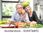 senior couple having fun in... | Shutterstock . vector #424476892