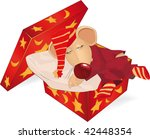 sleeping little mouse in a gift ...   Shutterstock .eps vector #42448354