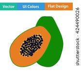flat design icon of papaya in...