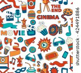 vector pattern with cinema hand ... | Shutterstock .eps vector #424491886