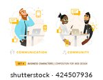business characters in circle.... | Shutterstock .eps vector #424507936