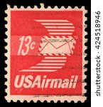 Small photo of ZAGREB, CROATIA - SEPTEMBER 03: A stamp printed in United States of America shows envelope with wings, Airmail, circa 1973, on September 03, 2014, Zagreb, Croatia