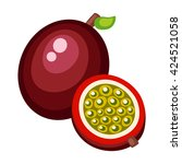 cartoon passionfruit on a white ... | Shutterstock .eps vector #424521058