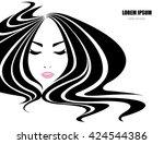 long hair style icon  logo... | Shutterstock .eps vector #424544386
