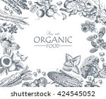organic food. set of vegetables ... | Shutterstock .eps vector #424545052