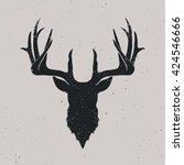deer head silhouette  hand... | Shutterstock .eps vector #424546666