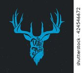 deer be wild and free blue... | Shutterstock .eps vector #424546672