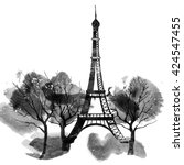 paris eiffel tower  watercolor  | Shutterstock . vector #424547455