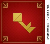 golden tangram key on dark red... | Shutterstock .eps vector #424555786