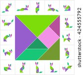 set of tangram cats  cut and... | Shutterstock .eps vector #424555792