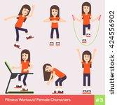 set of six fitness female...   Shutterstock .eps vector #424556902