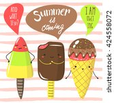 cute hand drawn doodle summer...   Shutterstock .eps vector #424558072