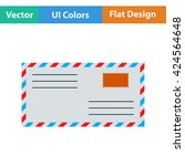 flat design icon of letter in...
