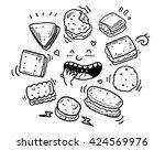 dset of biscuit doodles | Shutterstock .eps vector #424569976