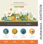 healthy lifestyle website... | Shutterstock . vector #424570156