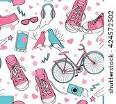 cute teenager girls pattern... | Shutterstock .eps vector #424572502