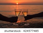 man and woman clanging wine... | Shutterstock . vector #424577485