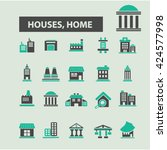 houses  home icons  | Shutterstock .eps vector #424577998