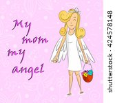 angel girl with basket of... | Shutterstock .eps vector #424578148