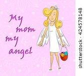 angel girl with basket of... | Shutterstock .eps vector #424578148