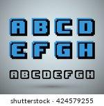 pixel font alphabet  old video...   Shutterstock .eps vector #424579255