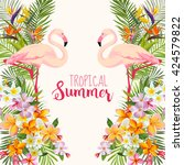 flamingo bird background. retro ... | Shutterstock .eps vector #424579822