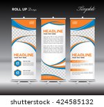 orange and blue roll up banner... | Shutterstock .eps vector #424585132