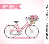 cute bicycle with basket full... | Shutterstock .eps vector #424589752