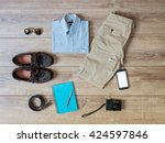 top view of casual clothes... | Shutterstock . vector #424597846