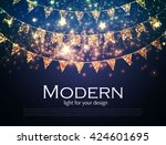 gold party flags with confetti. ... | Shutterstock .eps vector #424601695