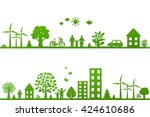 eco borders  | Shutterstock . vector #424610686